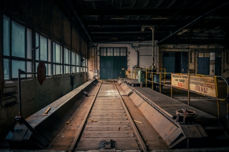 An abandoned industrial interior in dark colors Stock Photo - 17022894