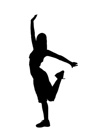 Silhouette of a dancer woman isolated on white