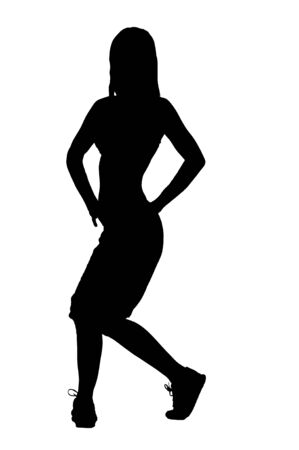 Silhouette of a dancer woman isolated on white photo