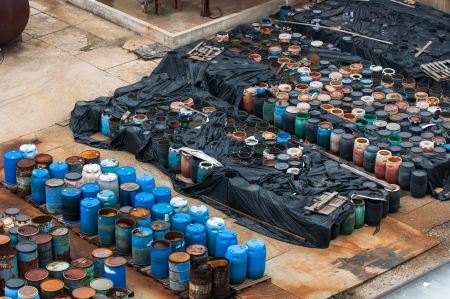 Photo of a Chemical waste dump with a lot of barrels Stock Photo - 17022552