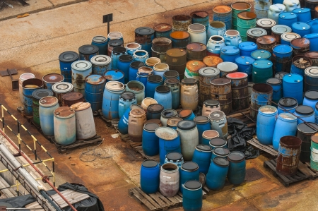 Photo of a Chemical waste dump with a lot of barrels Zdjęcie Seryjne