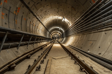 Underground facility with a big tunnel leading deep down Stock Photo - 17683456