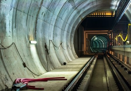 Underground facility with a big tunnel leading deep down Stock Photo - 17683379