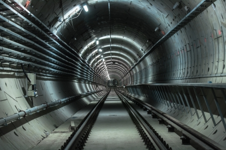 Underground facility with a big tunnel leading deep down Stock Photo - 17683323