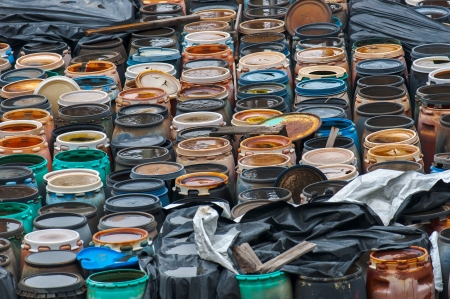 hazardous waste: Photo of a Chemical waste dump with a lot of barrels Stock Photo
