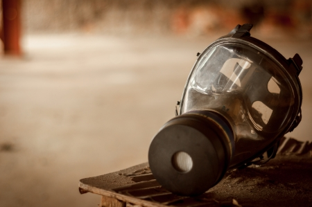 Modern gasmask in a room closeup photo