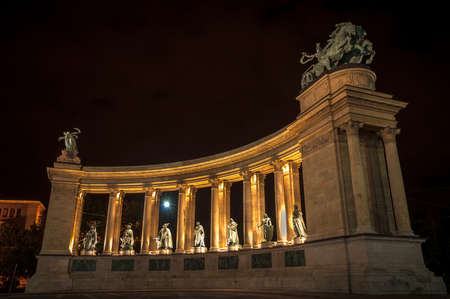 Heroes square in Hungary at night angle shot photo