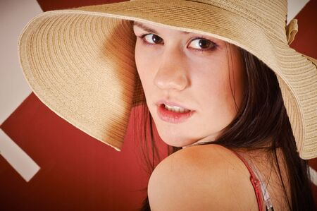 Seductive woman in summer ware closeup photo