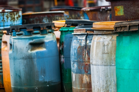 Several barrels of toxic waste at the dump Stock Photo - 19590604