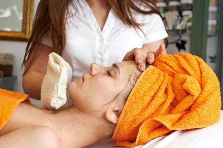 Young woman in beauty salon getting beautiful photo