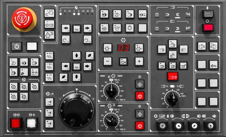 Control panel texture with lots of buttons Stock Photo