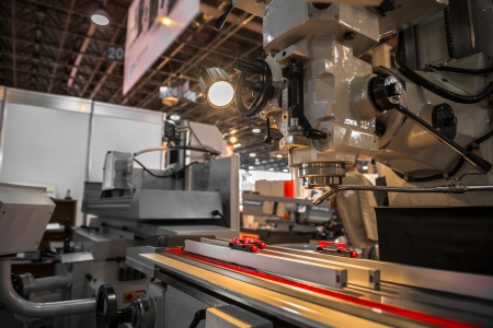 mechanical energy: Industrial machines working for the weak humans in a factory Stock Photo