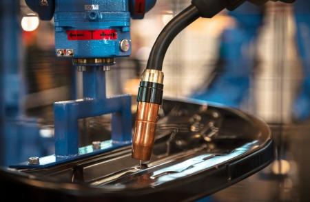 Lasser machine in een fabriek close-up Stockfoto