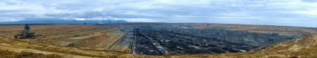Industrial landscape with a large mine photo