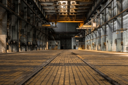 abandoned warehouse: Industrial interior of an old factory building