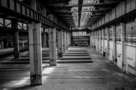 old factory: Industrial interior of an old factory building