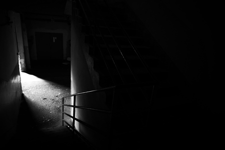 Dark corridor of a building photo