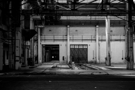 Large industrial door in a factory photo