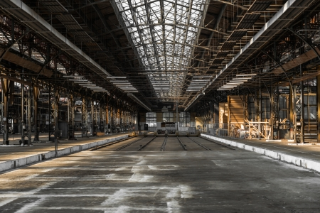 abandoned factory: Industrial interior of an old factory building