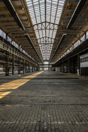 Industrial interior of an old factory building photo
