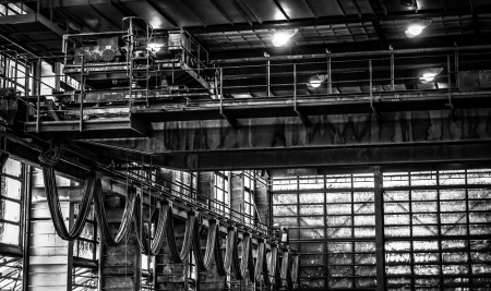 Waste processing plant interior with garbage photo