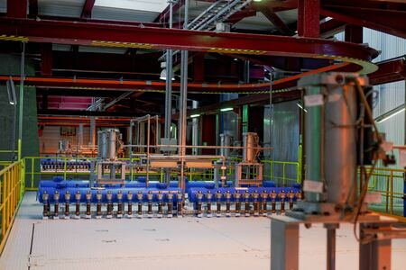 Industrial interior of a generic power plant with frames photo