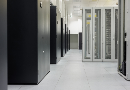 server room: Clean industrial interior of a server room with servers