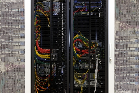 Network cables of a server in a data center photo