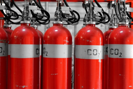 Large CO2 fire extinguishers in a thermal power plant Standard-Bild