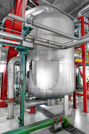 chemical industry: Large industrial pipes in a thermal power plant