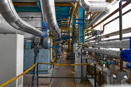 Industrial interior of a thermal power plant photo