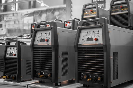 Industrial electricity inverters in a factory closeup