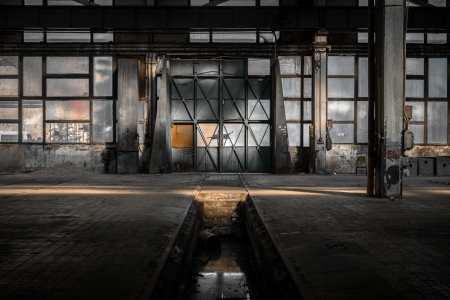 urban: Industrial interior of an old factory building