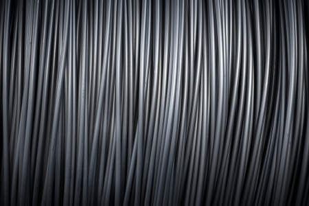 Grote spoel van aluminium draad Stockfoto