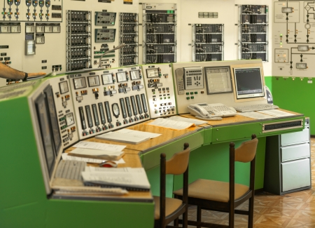 Control panel of a power plant indoors