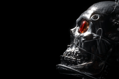 robot head: Skull of a human size robot isolated on black