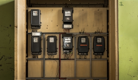 fusebox: Electrical fuseboxes and power lines in a fusebox