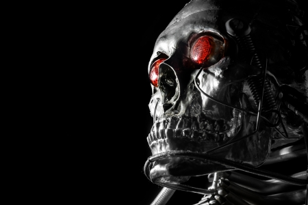 morphology: Skull of a human size robot isolated on black