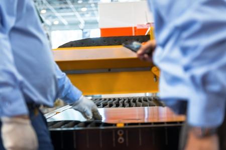 Machine cutting steel in a factory closeup Stock Photo - 24714980