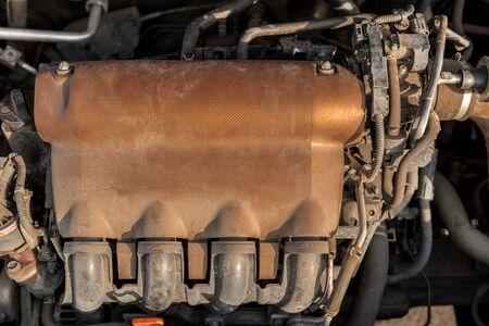 benzin: Closeup photo of a dirty motor block