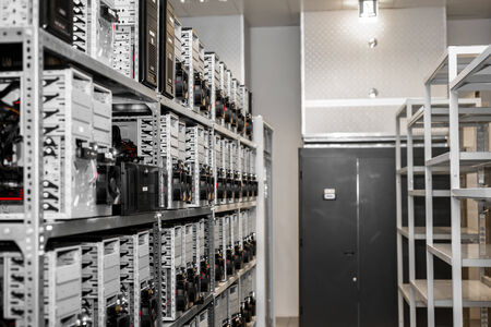 Modern and new computer cases in a data center