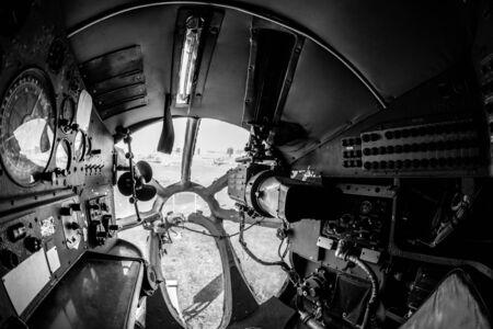 Interior of an old aircraft with control panel closeup Stock Photo