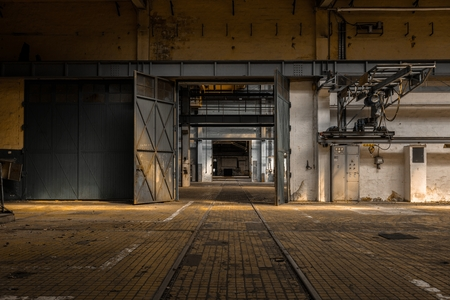 Industrial interior of an old factory building