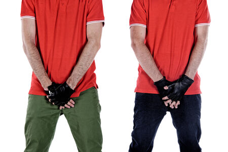 genitals: Football players protecting their genitals in studio Stock Photo