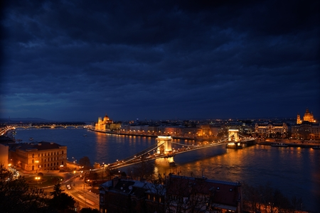 Aerial view of Budapest with Danube and sky photo