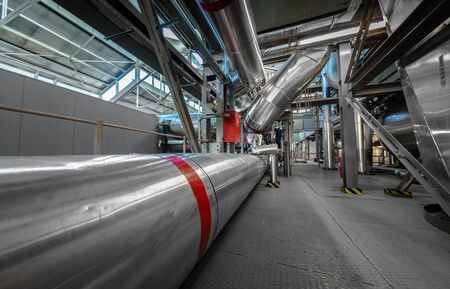 Large industrial pipes in a thermal power plant photo