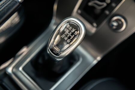 new technologies: Closeup photo of car gearbox in bright light