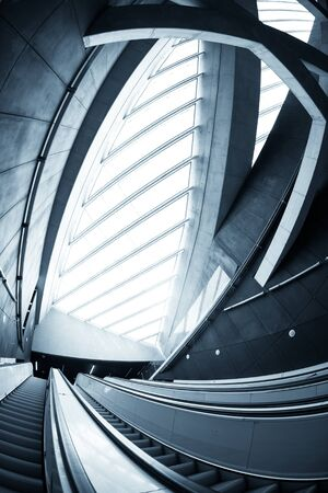 modern architecture: Moving escalator in the business center of a city Stock Photo