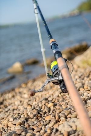 tench: Modern clean fishing rod outdoors on the ground Stock Photo