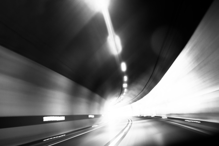 futuristic city: Abstract photo of motion in the tunnel Stock Photo